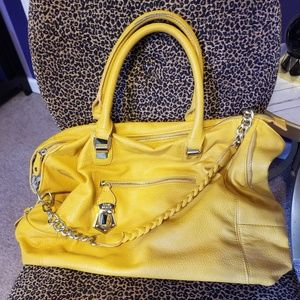 Steve Madden Mustard Chain Tote Satchel Purse Bag